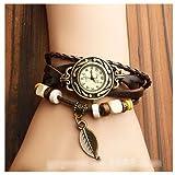本革 ベルト クォーツ腕時計 レザーブレスレットタイプ ウォッチ リーフチャーム付 D00060Z (ブラウン)