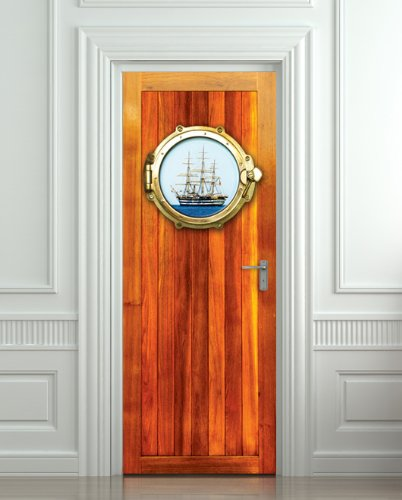 "Door Wall Fridge Sticker Illuminator Porthole Sea Ship Mural Decole Film Self-Adhesive Poster 30X80""(77X203 Cm)"