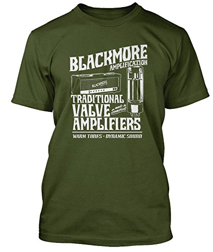 RITCHIE BLACKMORE inspired Valve Ampflifiers DEEP PURPLE T-shirt, Uomini, XL, Verde oliva