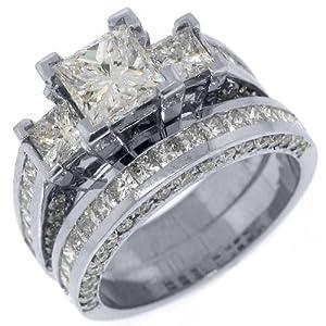 14k White Gold 6 Carats Princess 3-Stone Diamond Engagement Ring Bridal Set