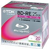 TDK 録画用ブルーレイディスク BD-RE 25GB 2倍速 ホワイトワイドプリンタブル 20枚パック BEV25PWA20K