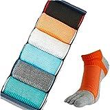 Men's Cotton Finger Five Toe Socks Athletic Running Colorful 6-Pack