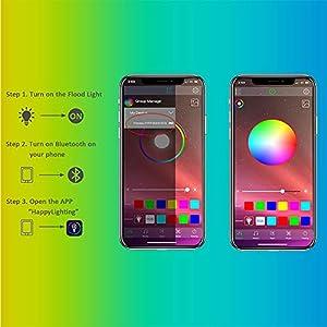 Led Flood Light 100w Equivalent Outdoor Color Changing Led Stage Landscape Lighting Rgb Bluetooth Smart Floodlights
