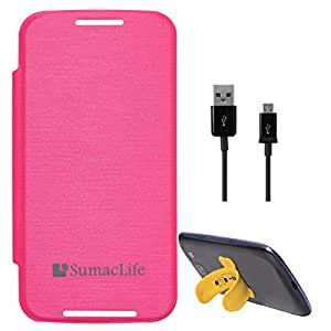 SumacLife PU Leather Flip Cover Case for Motorola Moto E (Magenta) + Data Cable + Touch U Silicone Stand
