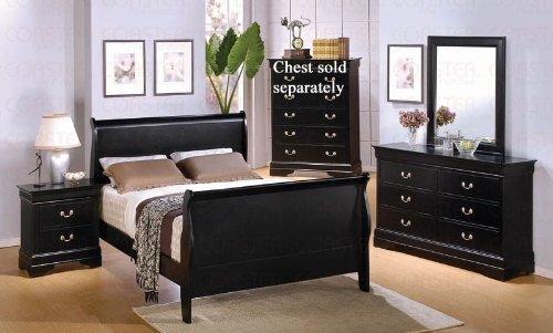 Best pc Full Size Sleigh Bedroom Set Louis Philippe Style in Black Finish