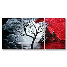Neron Art - Handpainted Landscape Oil Painting on Gallery Wrapped Canvas Group of 3 pieces - Rochdale 24X12 inch (61X30 cm)