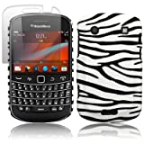 BLACKBERRY BOLD 9900 ZEBRA PU LEATHER BACK COVER CASE / SHELL / SHIELD + SCREEN PROTECTOR PART OF THE QUBITS ACCESSORIES RANGEby Qubits