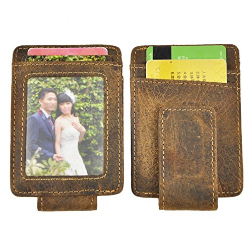 Le 39 Aokuu Mens Genuine Leather Cowhide Clip Credit Card