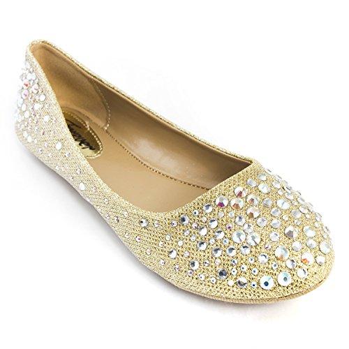 V-Luxury Womens 32-LARISA39 Round Toe Flat Ballerina Ballet Shoes, Champagne, 8 B (M) US