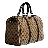 Gucci Canvas Leather Trimmed Crystal Coated Guccissima Print Boston Handbag Bag