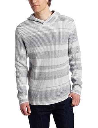 Calvin Klein Sportswear Men's Hooded Striped Rib Sweater, Frozen Grey, Large