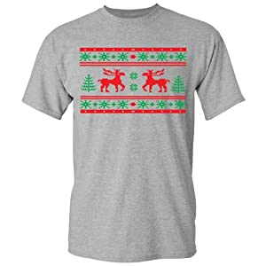 Festive Threads Ugly Christmas Sweater (Moose Design) Adult T-Shirt