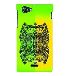 PrintVisa Birds Modern Art Owl 3D Hard Polycarbonate Designer Back Case Cover for Sony Xperia J ST26i