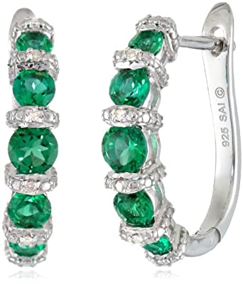 Sterling Silver Created Emerald and Diamond-Accented Hoop Earrings