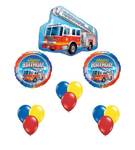 Fire Truck Red Engine Happy Birthday Balloon Bouquet Party Set 12 Mylar & Latex