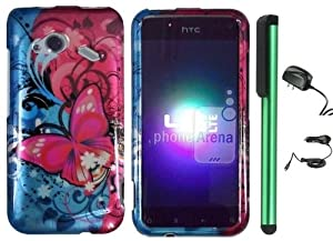 "Pink Butterfly Bliss Blue Swirl Design Protector Hard Cover Case for HTC Droid Incredible 4G LTE ADR6410 / HTC Fireball (Verizon) - 2012 Released + Luxmo Brand Travel (Wall) Charger & Car Charger + Combination 1 of New Metal Stylus Touch Screen Pen (4"" Height, Random Color- Black, Silver, Hot Pink, Green, Light Green, Red, Blue, Light Blue, Purple and Gold)"