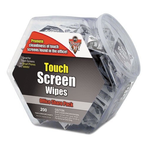 Dust-Off - Touch Screen Wipes, 5 X 6, 200 Individual Foil Packets Dmhj (Dmi Ea