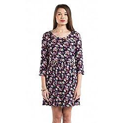 SbuyS Black & Pink Floral Tie Back Dress