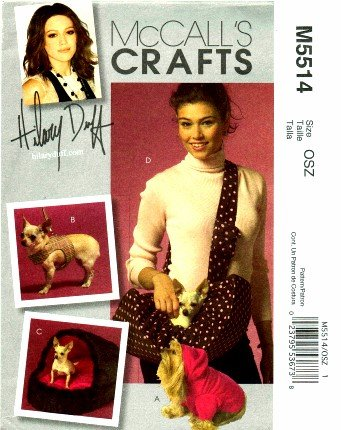 Mccall'S 5514 Crafts Sewing Pattern Hilary Duff Pet Top Harness Leash Bed Carrier front-955208
