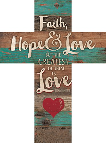Faith Hope & Love 1 Corinthians 13:13 Red Heart Rustic 14 x 10 Wood Wall Art Cross Plaque