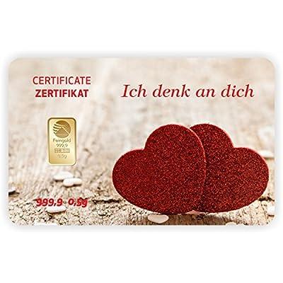 Goldbarren Geschenkkarte 0,5 g 0,5g Gramm Feingold 999.9 Nadir Gold Ich denk an dich