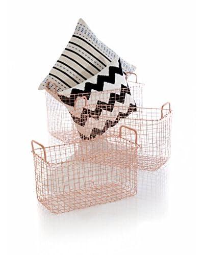 Shiraleah Set of 3 Lindstrom Baskets, Copper