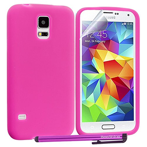 Beeshine Retail Package Flexible Rubber Skin Soft Silicone Case Cover With Lcd Film Guard Screen Protector & Touch Stylus Pen For Samsung Galaxy S5 / Sv / Sm-G900 (At&T, Verizon, Sprint, T-Mobile,U.S. Cellular) (Hot Pink)