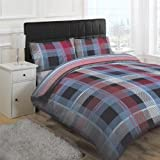 Linens Limited Solo Check Duvet Cover Set, Red, Super King