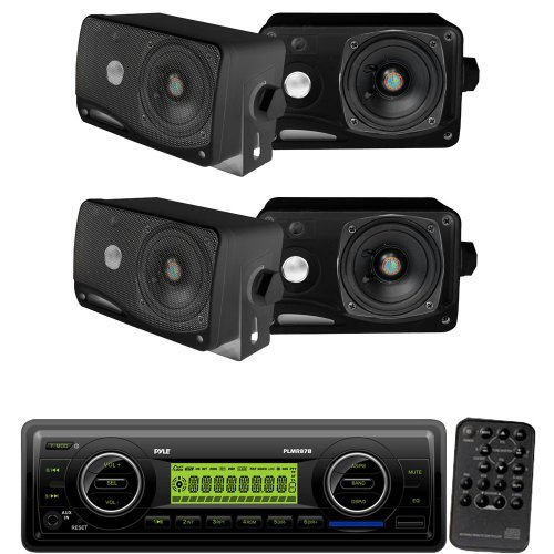 Pyle Marine Radio Receiver And Speaker Package - Plmr87Wb Am/Fm-Mpx In-Dash Marine Mp3 Player/Weatherband/Usb & Sd / Mmc Card Function (Black) - 2X Plmr24B 2 Pairs Of 3.5'' 200 Watt 3-Way Weather / Water Proof Mini Box Speaker System