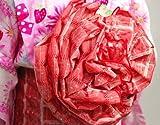 越前屋独占オリジナル!お子様フワフワ天使のフラワー結び帯 赤 子供兵児帯ボリューム作り帯 浴衣帯