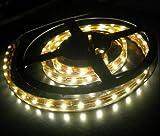 LEDER® 12v LED Flexible WARM WHITE SMD Strip Light 5 metres / 300 LED's + 12v Power Supply ** IDEAL FOR GARDEN, HOMES, AQUARIUM, KITCHEN, ETC **