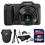 Olympus STYLUS SZ-15 16MP 24x SR Zoom 3-inch Hi-Res LCD - Black + 8GB SDHC + Deluxe Case + Extra Accessories