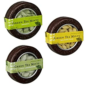 SEN CHA Green Tea Mints, Variety Pack (Original, Lively Lemongrass & Delicate Pear), 1-Ounce Tins (Pack of 9)