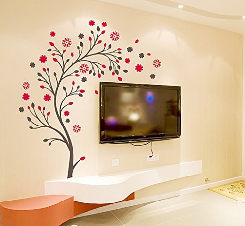 Decals Design 'Beautiful Magic Tree with Flowers' Wall Sticker (PVC Vinyl, 50 cm x 70 cm)