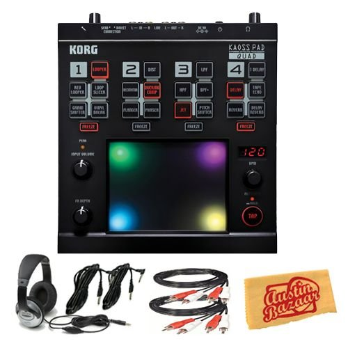 Korg Kaoss Pad Quad Dynamic Effects Processor Bundle with Two 6-Foot RCA Cables, Two 10-Foot Instrument Cables, Headphones, and Polishing Cloth