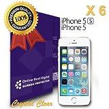 OBiDi - Films de protection d'écran pour Apple iPhone 5 / 5S / 5C, Crystal Clear / Transparent - OBD Emballage au Détail (Pack de 6)