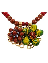 Bid4Desire Red Yellow Pendant Beads Crystal Flower Pendant Neckpiece For Women