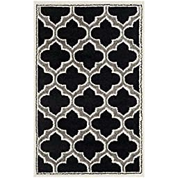 Safavieh Amherst Collection AMT412G Anthracite and Ivory Indoor/ Outdoor Area Rug, 2 feet 6 inches by 4 feet (2\'6\