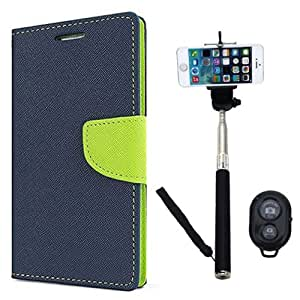 Aart Fancy Diary Card Wallet Flip Case Back Cover For Motorola Moto G - (Blue) + Remote Aux Wired Fashionable Selfie Stick Compatible for all Mobiles Phones By Aart Store