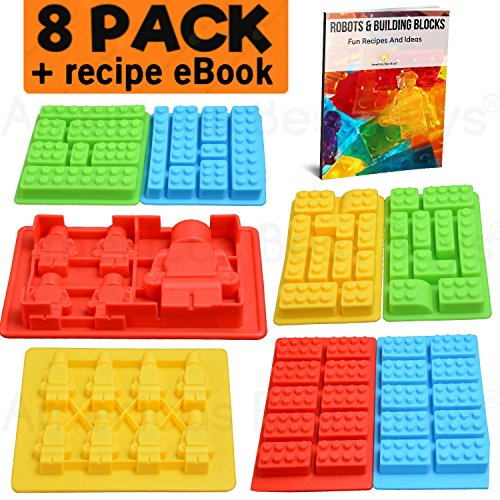 Best 8pc Silicone Molds for Lego Lovers + Recipe eBook. Candy Chocolate Maker Baking Mold Gummy Jello Ice Cube Blocks - Candle Crayons Soap Trays. Building Block Bricks + Minifigure Robot (Set of 8)