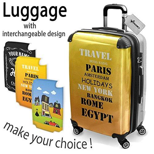 Around The World 10011, Travel, Luggage Valigia Bagaglio Ultraleggero Trasportabile Rigido con 4 Route e Disegno Intercambiabile. Dimensione: medio, M