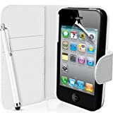 Supergets® Apple iPhone 4 and 4S White Wallet Case Cover, Screen Protector, Touch Screen Stylus And Polishing Cloth