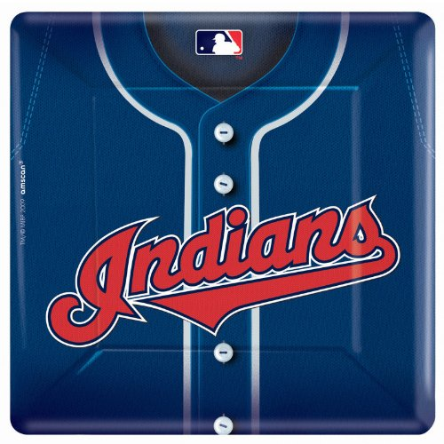 Amscan - Cleveland Indians Baseball Square Banquet Dinner Plates