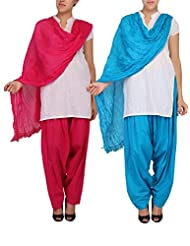 Womens Cottage Combo Pack Of 2 Pure Cotton Semi Patiala & Cotton Dupatta With Lace Set - B018PBI1YW