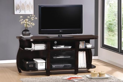 Inland Empire Furniture Michi Cappuccino Solid Wood Flat Panel TV Stand