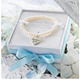 Mud Pie Flower Girl Heart and Pearl Bracelet