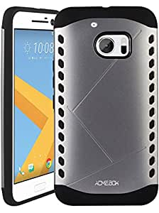HTC 10 Case, ACME.BOX [Shock Absorbent] Sheild Dual Layer Armor Hybrid Hard PC Defender Rugged Shockproof Protective Case for HTC 10 with Stylus - Grey