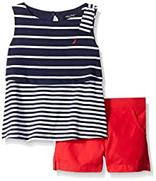 Nautica Girls\' Mixed Stripe Tiered Top with Button Accent Short Set, Red, 18month, Red, 18 Months