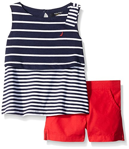 Nautica Girls' Mixed Stripe Tiered Top with Button Accent Short Set, Red, 3T, Red, 3T