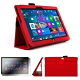 DURAGADGET Executive Red Faux Leather Folio Case With Built In Stand Custom Designed For The Microsoft Surface 10.6 Inch Tablet (With Windows RT, 32GB, 64GB, Type Cover Keyboard) + FREE Gift: Screen Protector Worth £3.99